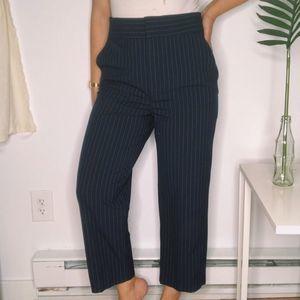 Zara Pinstripe Wide Leg Navy Crop Trouser Pants